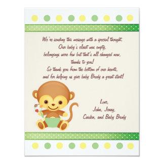 """Mono del bebé de la nota de las gracias invitación 4.25"""" x 5.5"""""""