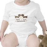 Mono del bebé de los Dachshunds del amor de la paz Trajes De Bebé