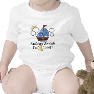 Mono del bebé del cumpleaños del velero Aweigh de Traje De Bebé