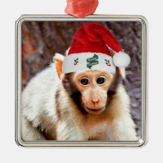Mono del bebé en el navidad adorno navideño cuadrado de metal