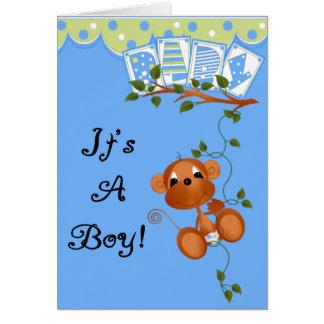 Mono del bebé es tarjetas y pegatinas de un muchac