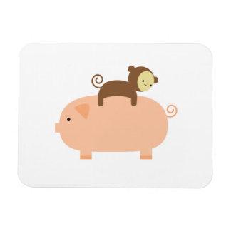 Mono del bebé que monta al revés en un cerdo imanes rectangulares