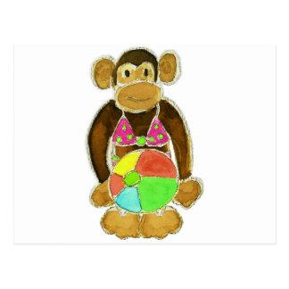 Mono del bikini postales