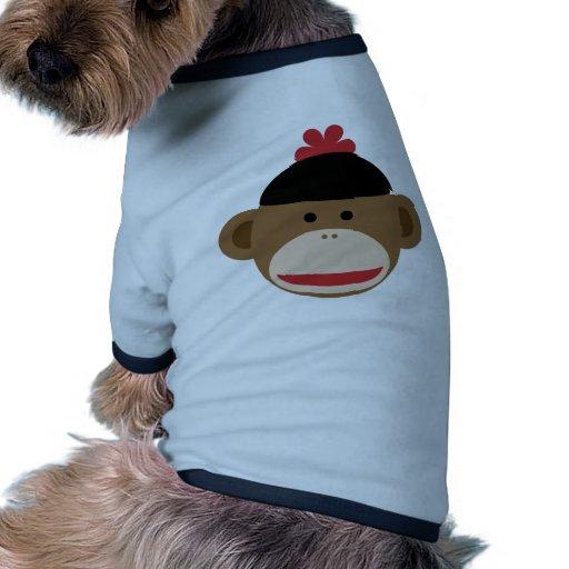 mono del calcetín camiseta con mangas para perro