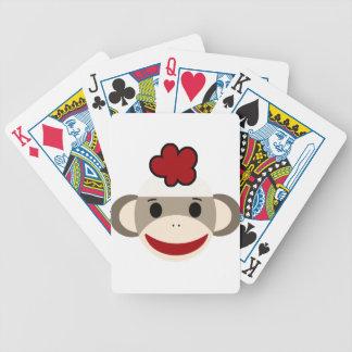 mono del calcetín baraja de cartas