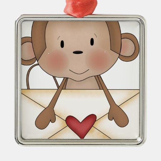 Mono del calcetín con la letra de amor adorno navideño cuadrado de metal