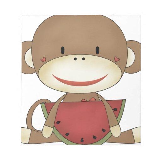 Mono del calcetín con la sandía blocs