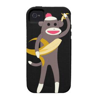 Mono del calcetín con las espadas del plátano iPhone 4 funda