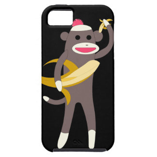 Mono del calcetín con las espadas del plátano iPhone 5 Case-Mate protector