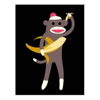 Mono del calcetín con las espadas del plátano tarjetas postales