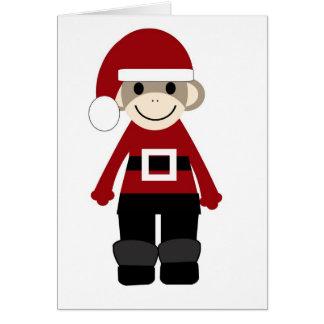Mono del calcetín de Santa Tarjeta De Felicitación