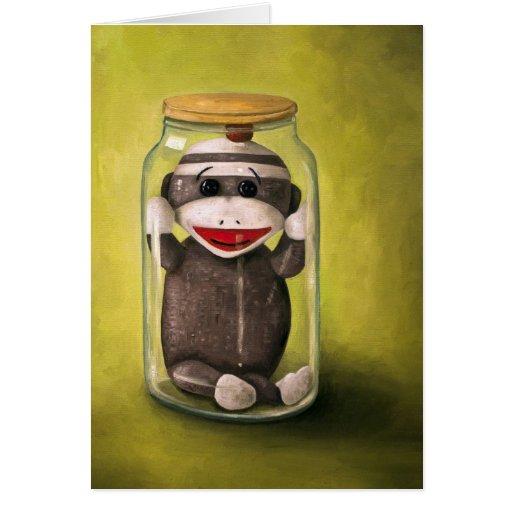 Mono del calcetín del bebé que preserva la niñez 5 tarjeta de felicitación