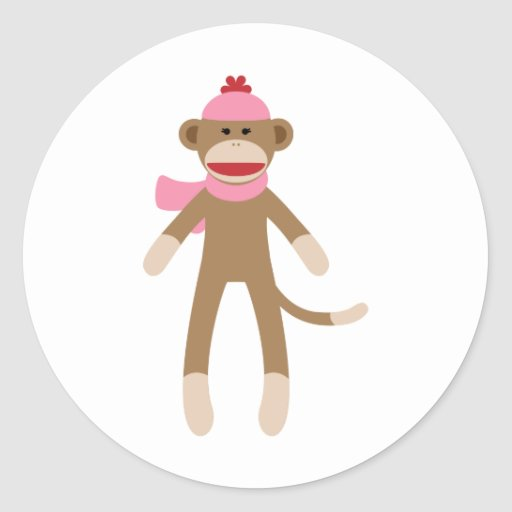 mono del calcetín del chica pegatina redonda