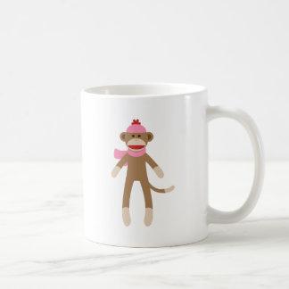 mono del calcetín del chica taza de café