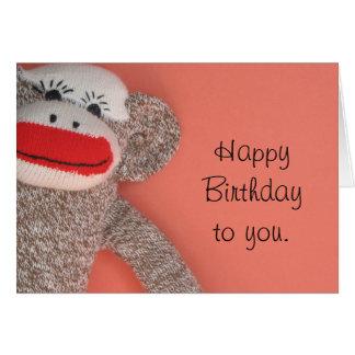 Mono del calcetín del feliz cumpleaños tarjetón