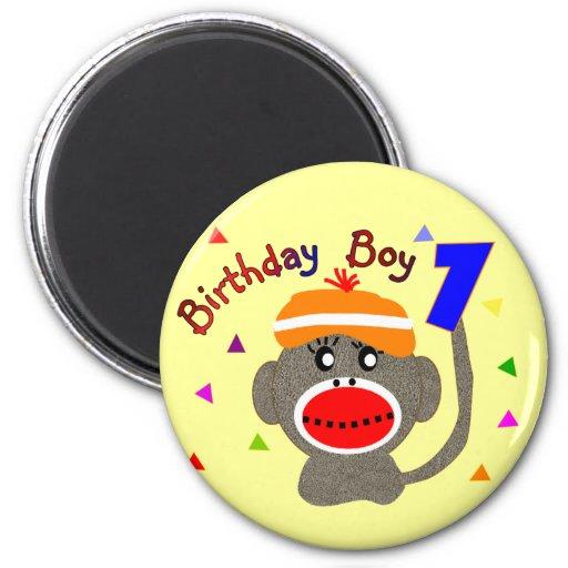 Mono del calcetín del MUCHACHO del cumpleaños de 1 Iman De Nevera