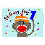 Mono del calcetín del MUCHACHO del cumpleaños de 1 Tarjetón