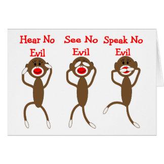 Mono del calcetín--No oiga, hable, vea NINGÚN MAL Tarjeta De Felicitación