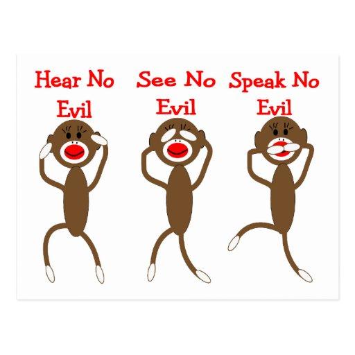 Mono del calcetín--No oiga, hable, vea NINGÚN MAL Tarjeta Postal