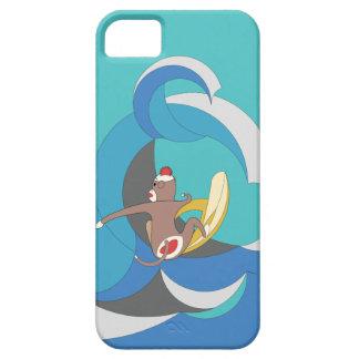 Mono del calcetín - plátanos que practican surf iPhone 5 cárcasa