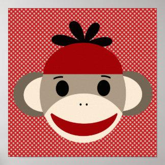 Mono del calcetín y poster del arte del lunar