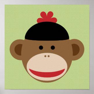 Mono del calcetín y poster verde del arte de la
