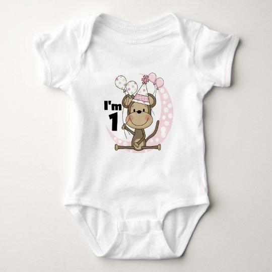 Mono del chica en cumpleaños del gorra del fiesta body para bebé