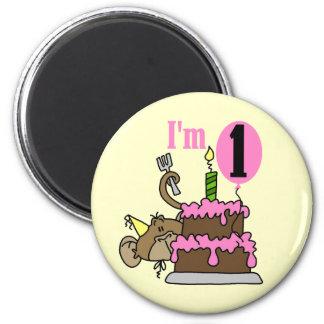 Mono del chica soy camisetas de un cumpleaños iman de nevera