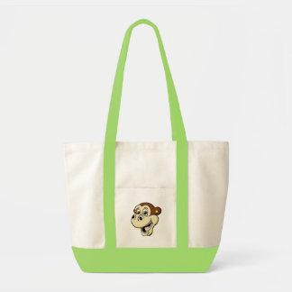 Mono del dibujo animado bolsa tela impulso