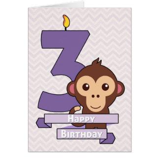 Mono del dibujo animado en una tarjeta de