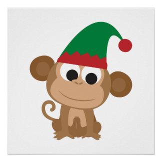 Mono del duende del navidad perfect poster