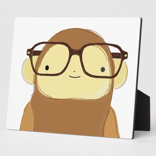 mono del empollón placas para mostrar