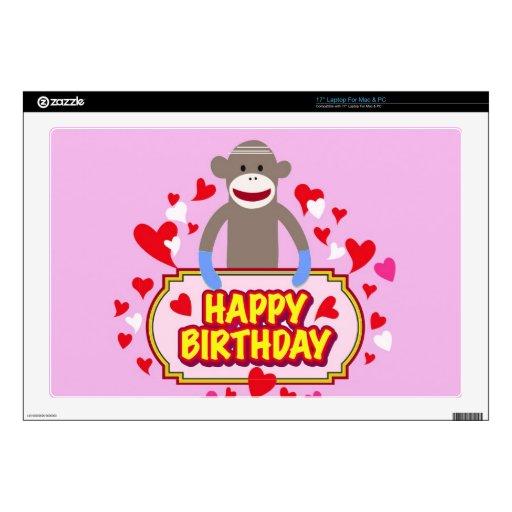 Mono del feliz cumpleaños portátil calcomanías