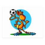 Mono del fútbol del dibujo animado postal