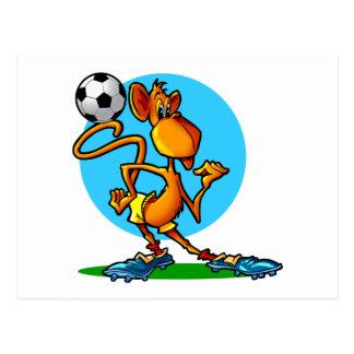 Mono del fútbol del dibujo animado postales