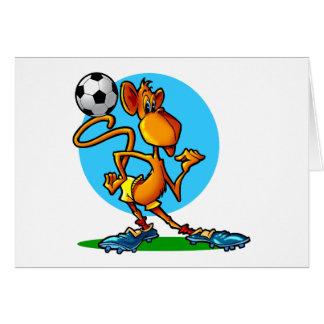 Mono del fútbol del dibujo animado tarjeta de felicitación