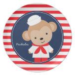 Mono del marinero personalizado platos para fiestas
