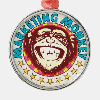 Mono del márketing adorno redondo plateado