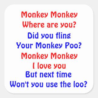 Mono del mono pegatina cuadrada