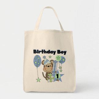Mono del muchacho con el 1r cumpleaños de los bolsa tela para la compra