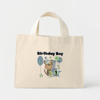 Mono del muchacho con el 1r cumpleaños de los rega bolsa tela pequeña