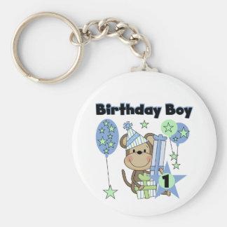 Mono del muchacho con el 1r cumpleaños de los rega llavero redondo tipo pin