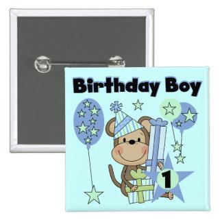 Mono del muchacho con el 1r cumpleaños de los rega pin cuadrada 5 cm