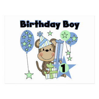 Mono del muchacho con el 1r cumpleaños de los tarjeta postal