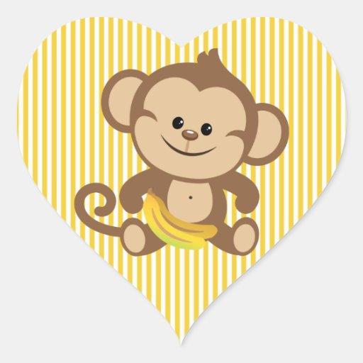 Mono del muchacho con el plátano pegatina en forma de corazón