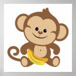 Mono del muchacho con el plátano posters