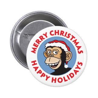 Mono del navidad de Santa Pin Redondo De 2 Pulgadas