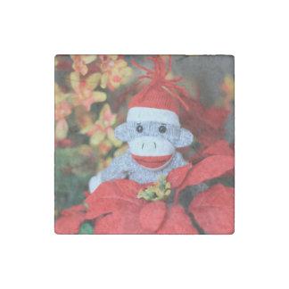 Mono del navidad imán de piedra