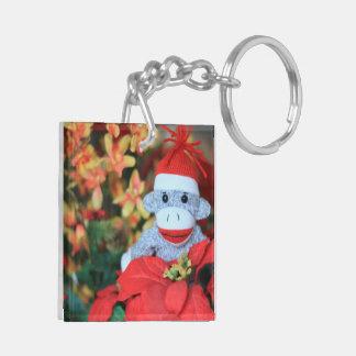 Mono del navidad llavero cuadrado acrílico a doble cara