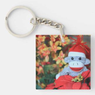 Mono del navidad llavero cuadrado acrílico a una cara